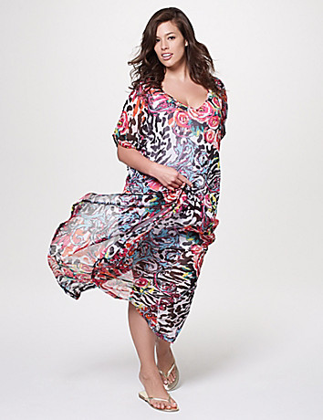 Floral chiffon swim cover up